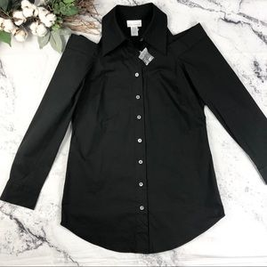 Soft Surroundings cold shoulder collared shirt S
